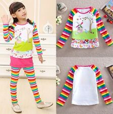 Hot New Kids Toddler Clothes Girls Cartoons Stripy  Long Sleeve Tops Sz18M-6Y