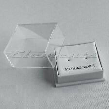 PLASTIC CLEAR TOP LID STUD EARRINGS DISPLAY BOXES WITH WHITE PADS ST.SILVER MID