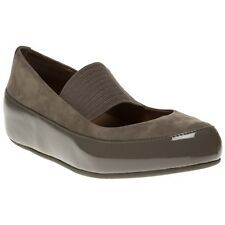 New Womens FitFlop Tan Natural Due Mary Jane Nubuck Shoes Flats Elasticated Slip