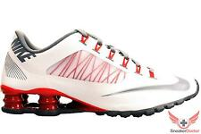 New Nike Mens Shox SuperFly R4 Running Shoes White/Wolf Grey/Red All Sizes