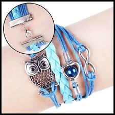 Fashion Owl Heart Pearl Friendship Leather Charm Bracelet Silver Cute BluePink