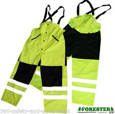 Rain Bibs HI-VIS Waterproof Meets ANSI/ISEA Sizes: S To 2XL Reflective Stripes