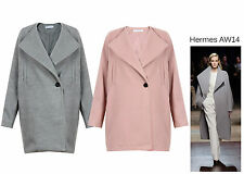 Ladies Cocoon Coat Long Women Jacket Collarles Pastel Pink Grey Catwalk inspired