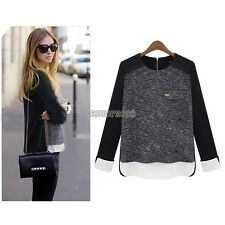 New Women's Crew Neck Contrast Knit Autumn Pullover Sweater Jumper Blouse Tops E