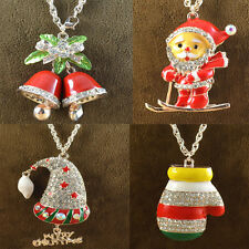 Fashion Jewelry Crystal Christmas Sweater Chain Necklace New Year's Xmas Gift
