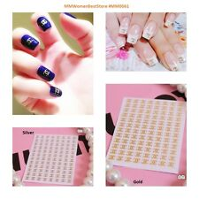 Foil Metal Brand Logo Gold Silver 3D Nail Art Decals Stickers DIY Decorations