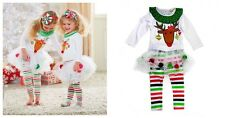 2 in1 baby girl clothes kids Christmas set  t-shirt +skirt outfits for 0-4Y R25