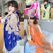 Hot Fashion Lady Girls Vintage Long Soft Chiffon Scarf Wrap Shawl Stole Scarves
