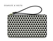 Charles & Keith Black + White Geometric Wristlet Clutch Bag
