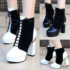 Women Sexy Lace Up Pu Leahter Riding Chunky High Heels Pumps Ankle Boots Booties