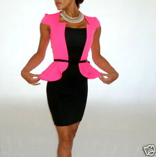 UNIQUE HOT PINK & BLACK BELTED JACKET PEPLUM BODYCON DRESS FOREVER WIGGLE 10 14