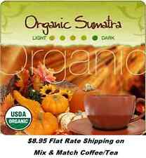 Natural Organic Sumatra Black Satin Roast' Fair-Trade Coffee -Flat Rate Shipping