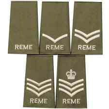 BRITSH REME ROYAL ELECTRICAL AND MECHANICAL ENGINEERS GREEN PCS RANK SLIDES PAIR