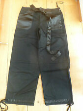 PINK SODA TWILL AND SATIN BLACK WIDE LEG CROPPED TROUSERS UK 10 BNWT