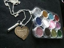 Personalised Photo / Prints/ Text Engraved Large Heart Necklace With Pixie Dust