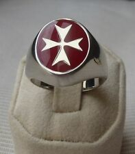 Sterling Silver Maltese Cross Solid Ring Red Enamel ALL SIZES FACTORY PRIC