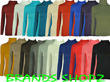 NEW LADIES PLAIN LONG SLEEVE TURTLE POLO NECK TOP CASUAL JUMPER PLUS SIZE