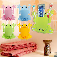 Cute Frog Toothbrush Makeup Tools Wall Stick Paste Organizer Holder Hook 4Color
