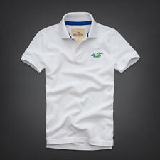 New Hollister (by Abercrombie) S, M, L, XL Polo Shirt White Muscle Fit