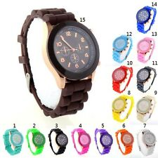 New Women's Men's Geneva Silicone Jelly Gel Quartz Analog Sports Wrist Watch