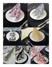 Wedding Black and White Damask Table Napkins Linens Many Colors