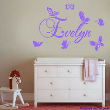 BUTTERFLIES & Personalised/Customise Name Removable wall sticker / DECALS