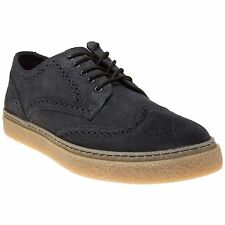 New Mens Fred Perry Grey Blue Davies Drakes Suede Shoes Brogue Lace Up