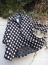 "NESLAY LIGHT COAT JACKET BLACK WHITE SPOT 46"" & 48"" BUST BNWT LAGENLOOK ETHNIC"