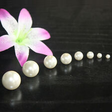 Czech Round WHITE Glass Faux Pearls, Loose, Superior Quality Glass Pearl-8 Sizes