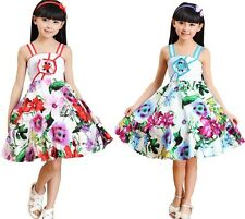 New Childs Girls Kids Wedding Party Floral A-line Dresses For Age 2-13 Years
