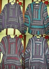 Unisex Woven Baja Pullover Hoodie Jacket Mexican Hippie Surfer Skater Size L XXL