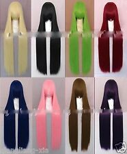 "8 Colors 40""100cm Extra Long Straight Cosplay Costume Wig Party Wigs+free  gift"