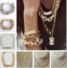 Fashion Chunky Silver Gold Design Inspired Pave Bar Link Chain Bracelet Necklace