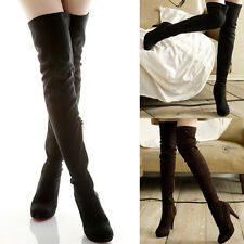 Womens High Heels Thigh High Slouch Over The Knee Pull On Stilettos Suede Boots