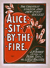 Photo Printed Old Poster: 1800s Theatre Flyer Alice Sit By The Fire Jm Barbie 01