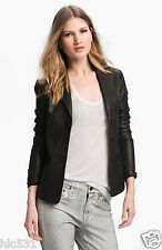 NWT VINCE BLACK LAMBSKIN LEATHER 2 BUTTON JACKET BLAZER SZ 4 12 $1085.00