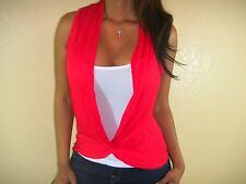 SEXY FEMININE RED WHITE DRAPED KNOT TWIST FRONT FORGIVING 2FER LAYERED SML RD101