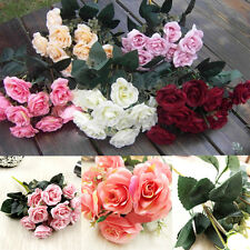 Rose Fake Artificial Silk Flower Wedding Party Bridal Bouquet Home Decor 12Heads