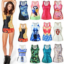 Sexy Women 3D Print Trendy Bodycon Stretch Long Racer Back Tank Top Vest Club A
