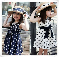 Trendy Cute Girl Polka Dot Outfits Kids Baby Clothes Dress + Bowknot For 2-7Y
