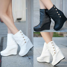 Womens High Heels Platform Wedges Button Faux Leather Splice Mid Calf Boots