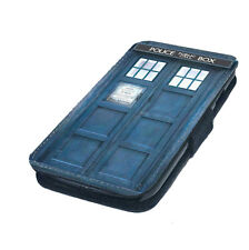 Blue Police Box Printed Faux Leather Flip Phone Cover Case