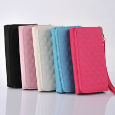Grid PU Leather Wristlet Purse Wallet Case Cover For Multi Phone Model 4.3