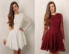 Ladies Womens Long Sleeved Lace Skater Style Dress Wine Red White Size 8-14