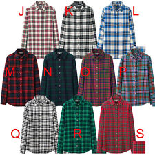 FREE AIRMAIL Uniqlo Women Flannel Long Sleeve Shirt Causal 100% Cotton Plaids