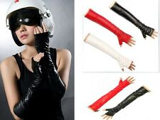 Fashion Sexy Girl Women's Opera Costume Long Faux Leather Gloves Fingerless 60Cm
