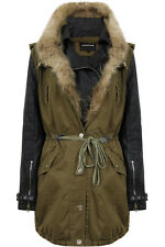 Ladies Womens Khaki Green Parka Fur PU Leather Winter Coat Jacket Size 8-14