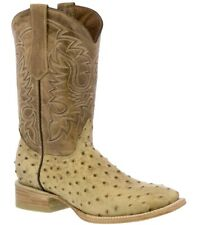 Men's beige ostrich crocodile western cowboy boots leather rodeo square toe TW