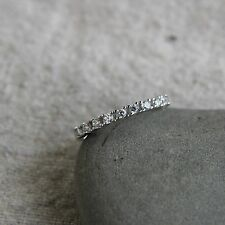 925 Sterling Silver cz wedding band Engagement Ring Promise RingSE20