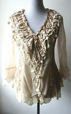 Pretty Angel Vintage Victorian Romantic Textured Blouse-Silk blend,lace. UNIQUE!